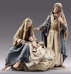 Picture of Holy Family (2) Group 2 pieces cm 40 (15,7 inch) Immanuel dressed Nativity Scene oriental style Val Gardena wood statues fabric clothes