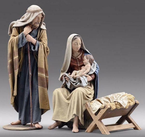 Immagine di Sacra Famiglia (3) Gruppo 3 pezzi cm 40 (15,7 inch) Presepe vestito Immanuel stile orientale statue in legno Val Gardena abiti in stoffa