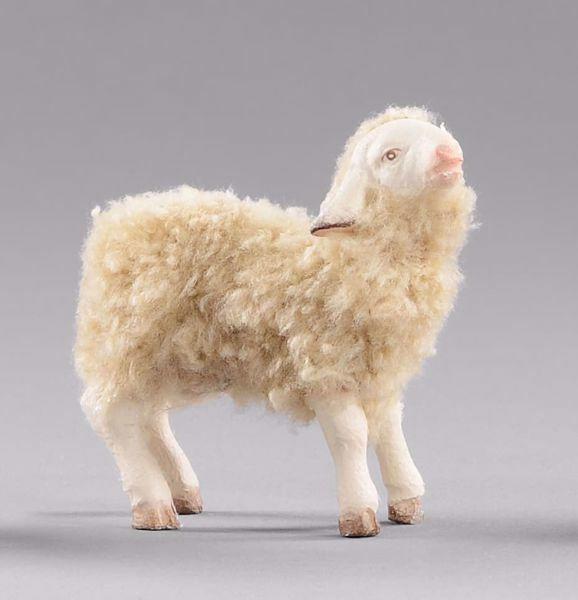 Imagen de Cordero con lana cm 40 (15,7 inch) Pesebre vestido Hannah Alpin en madera Val Gardena