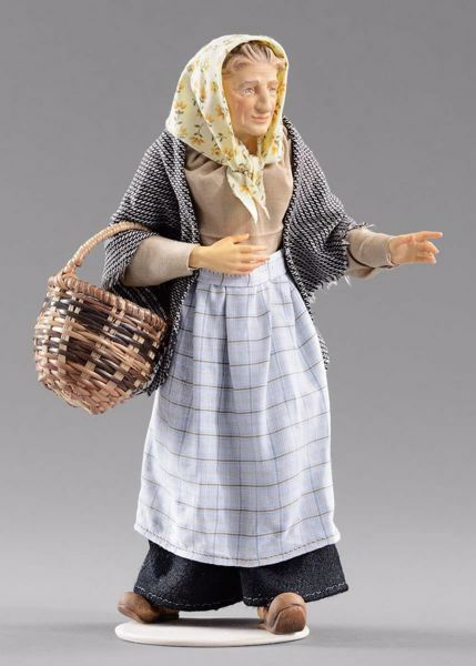 Imagen de Campesina anciana con cesta cm 40 (15,7 inch) Pesebre vestido Hannah Alpin estatua en madera Val Gardena trajes de tela