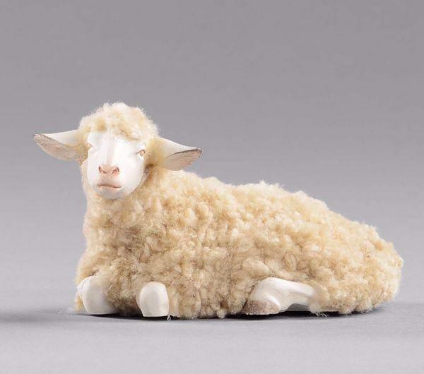 Imagen de Oveja con lana acostada cm 40 (15,7 inch) Pesebre vestido Hannah Alpin en madera Val Gardena