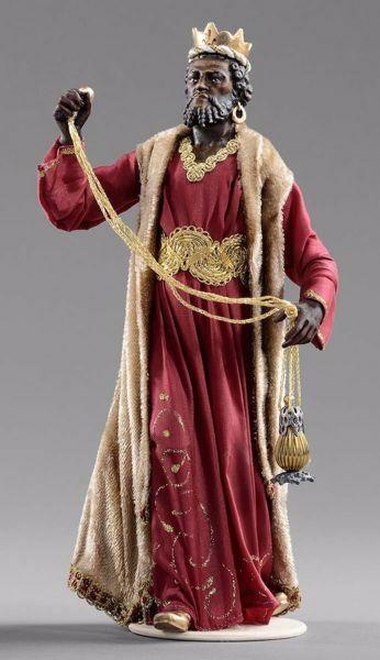 Imagen de Baltasar Rey Mago Negro cm 40 (15,7 inch) Pesebre vestido Hannah Alpin estatua en madera Val Gardena trajes de tela