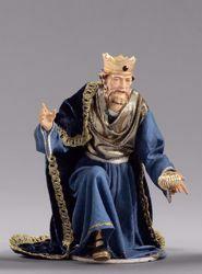 Immagine di Melchiorre Re Magio Mulatto in ginocchio cm 40 (15,7 inch) Presepe vestito Hannah Alpin statua in legno Val Gardena abiti in tessuto