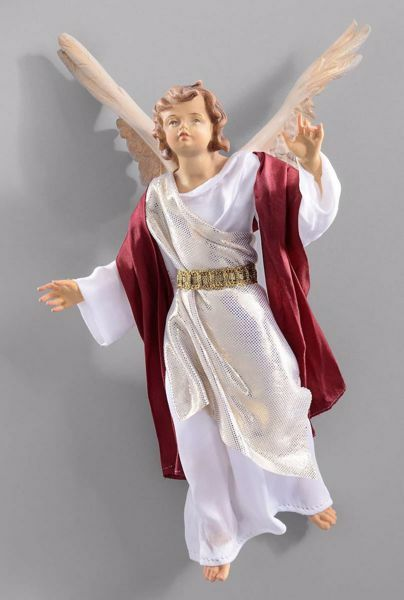 Picture of Glory Angel cm 40 (15,7 inch) Hannah Orient dressed nativity scene Val Gardena wood statue with fabric dresses