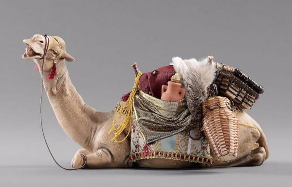 Picture of Camel lying cm 40 (15,7 inch) Hannah Orient dressed Nativity Scene in Val Gardena wood