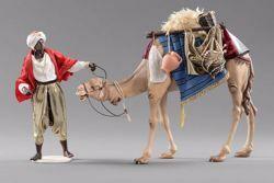 Imagen de Grupo Camellero con Camello 2 piezas cm 40 (15,7 inch) Pesebre vestido Hannah Orient estatuas en madera Val Gardena con trajes de tela