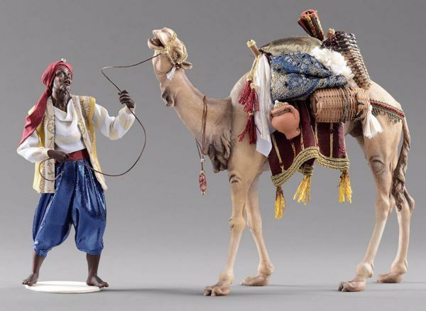 Picture of Cameleer with Camel Group 2 pieces cm 40 (15,7 inch) Hannah Orient dressed nativity scene Val Gardena wood statues with fabric dresses