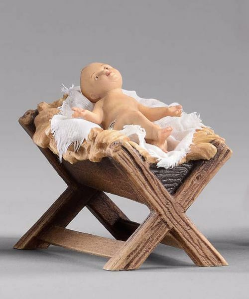 Picture of Child with Cradle cm 40 (15,7 inch) Hannah Orient dressed nativity scene Val Gardena wood statue with fabric dresses