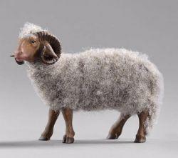 Imagen de Carnero gris con lana cm 40 (15,7 inch) Pesebre vestido Hannah Orient en madera Val Gardena