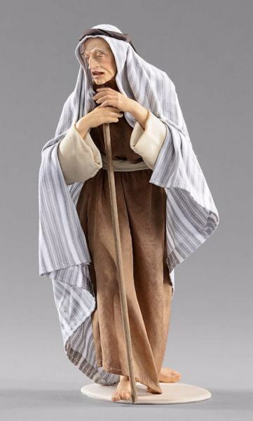 Picture of Elderly Shepherd with stick cm 40 (15,7 inch) Hannah Orient dressed nativity scene Val Gardena wood statue with fabric dresses