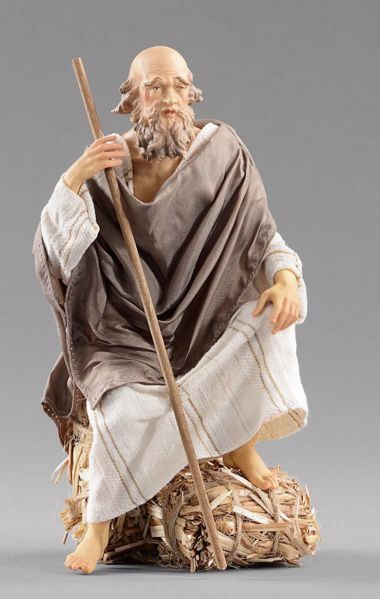 Picture of Elderly Shepherd sitting cm 40 (15,7 inch) Hannah Orient dressed nativity scene Val Gardena wood statue with fabric dresses