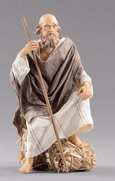 Imagen de Pastor anciano sentado  cm 40 (15,7 inch) Pesebre vestido Hannah Orient estatua en madera Val Gardena con trajes de tela