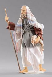 Immagine di Pastore con agnello cm 40 (15,7 inch) Presepe vestito Hannah Orient statua in legno Val Gardena abiti in tessuto