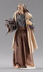 Immagine di Pastore con legna cm 40 (15,7 inch) Presepe vestito Hannah Orient statua in legno Val Gardena abiti in tessuto