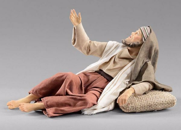 Picture of Amazed Shepherd lying  cm 40 (15,7 inch) Hannah Orient dressed nativity scene Val Gardena wood statue with fabric dresses