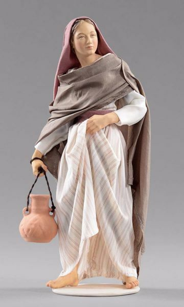 Picture of Woman with Jug cm 40 (15,7 inch) Hannah Orient dressed nativity scene Val Gardena wood statue with fabric dresses