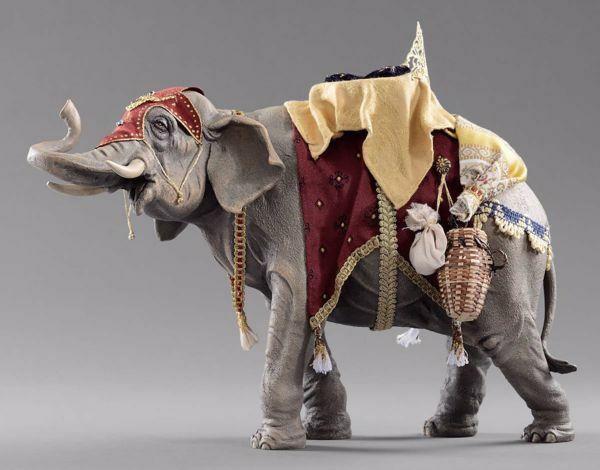 Immagine di Elefante con sella cm 14 (5,5 inch) Presepe vestito Hannah Orient Statua in legno Val Gardena