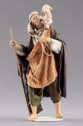 Imagen de Pastor con cordero cm 14 (5,5 inch) Pesebre vestido Hannah Orient estatua en madera Val Gardena con trajes de tela