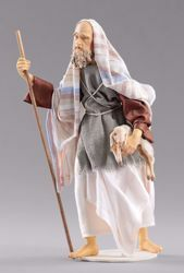 Picture of Shepherd with lamb cm 14 (5,5 inch) Hannah Orient dressed nativity scene Val Gardena wood statue with fabric dresses