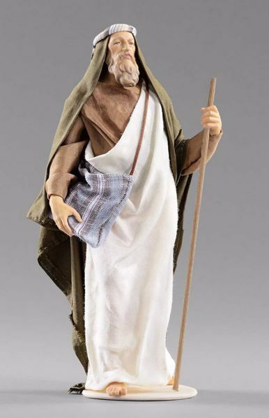 Picture of Shepherd with bag and stick cm 14 (5,5 inch) Hannah Orient dressed nativity scene Val Gardena wood statue with fabric dresses