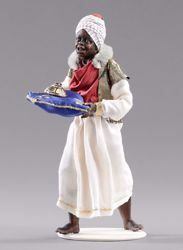 Picture of Moor Servant of the Three Kings cm 14 (5,5 inch) Hannah Orient dressed nativity scene Val Gardena wood statue with fabric dresses