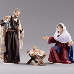Picture of Holy Family (1) Group 3 pieces cm 14 (5,5 inch) Hannah Orient dressed nativity scene Val Gardena wood statues with fabric dresses