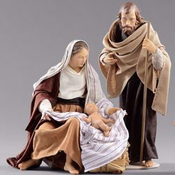Picture of Holy Family (2) Group 2 pieces cm 14 (5,5 inch) Hannah Orient dressed nativity scene Val Gardena wood statues with fabric dresses