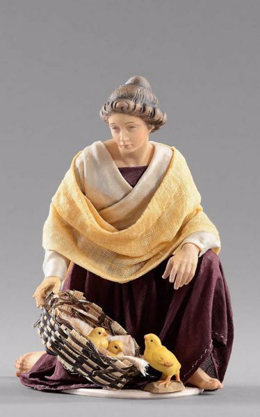 Picture of Kneeling Woman with chicks cm 14 (5,5 inch) Hannah Orient dressed nativity scene Val Gardena wood statue with fabric dresses