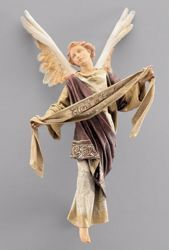 Picture of Glory Angel to hang up cm 14 (5,5 inch) Immanuel dressed Nativity Scene oriental style Val Gardena wood statue fabric clothes