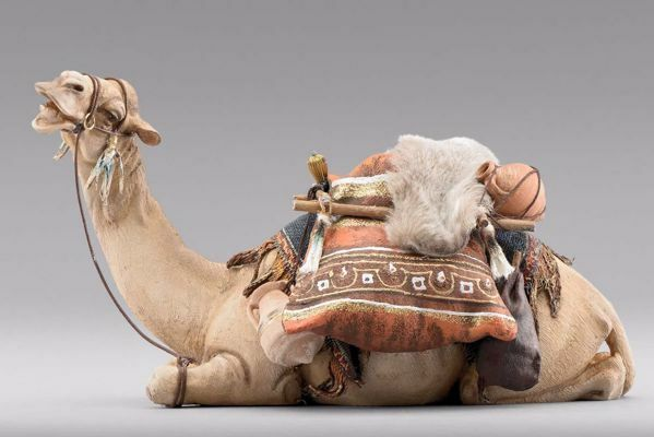 Picture of Lying Camel with saddle cm 14 (5,5 inch) Immanuel dressed Nativity Scene oriental style Val Gardena wood statue