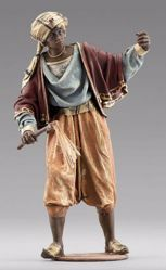 Picture of Moor Cameleer standing cm 14 (5,5 inch) Immanuel dressed Nativity Scene oriental style Val Gardena wood statue fabric clothes