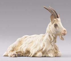 Imagen de Cabra acostada cm 14 (5,5 inch) Pesebre vestido Immanuel estilo oriental estatua en madera Val Gardena