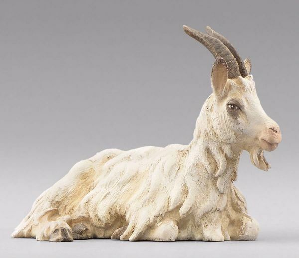Picture of Goat lying cm 14 (5,5 inch) Immanuel dressed Nativity Scene oriental style Val Gardena wood statue