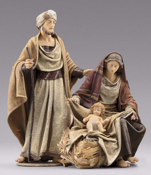 Picture of Holy Family (1) Group 2 pieces cm 14 (5,5 inch) Immanuel dressed Nativity Scene oriental style Val Gardena wood statues fabric clothes