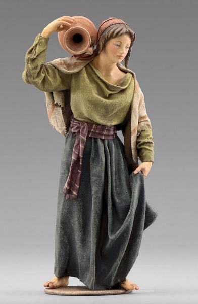 Picture of Woman with Jug cm 14 (5,5 inch) Immanuel dressed Nativity Scene oriental style Val Gardena wood statue fabric clothes