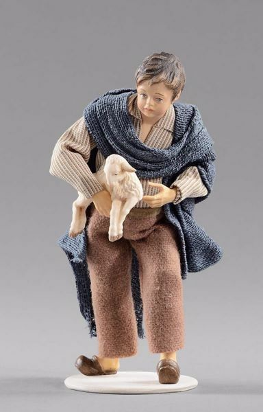 Picture of Child with Lamb cm 20 (7,9 inch) Hannah Alpin dressed nativity scene Val Gardena wood statue fabric dresses