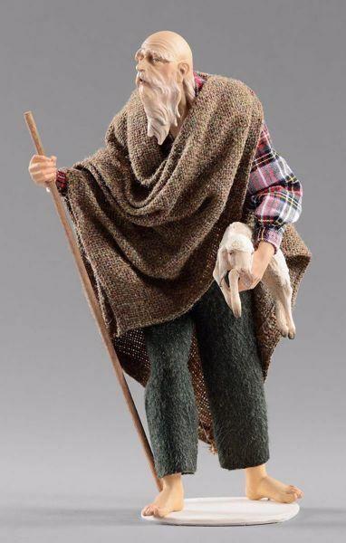 Picture of Elderly Shepherd with lamb cm 20 (7,9 inch) Hannah Alpin dressed nativity scene Val Gardena wood statue fabric dresses
