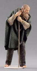 Immagine di Pastore con bastone cm 20 (7,9 inch) Presepe vestito Hannah Alpin statua in legno Val Gardena abiti in tessuto