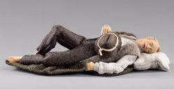Immagine di Pastore dormiente cm 20 (7,9 inch) Presepe vestito Hannah Alpin statua in legno Val Gardena abiti in tessuto