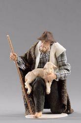 Immagine di Pastore inginocchiato con agnello cm 20 (7,9 inch) Presepe vestito Hannah Alpin statua in legno Val Gardena abiti in tessuto