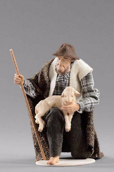 Picture of Kneeling Shepherd with lamb cm 20 (7,9 inch) Hannah Alpin dressed nativity scene Val Gardena wood statue fabric dresses