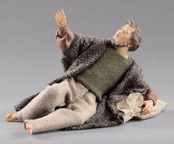 Immagine di Pastore sdraiato meravigliato cm 20 (7,9 inch) Presepe vestito Hannah Alpin statua in legno Val Gardena abiti in tessuto