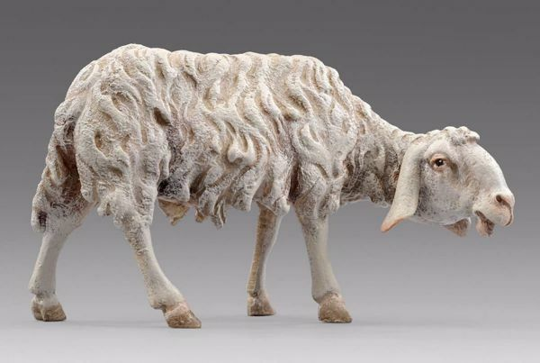 Picture of Sheep looking rightwards cm 20 (7,9 inch) Hannah Alpin dressed Nativity Scene in Val Gardena wood