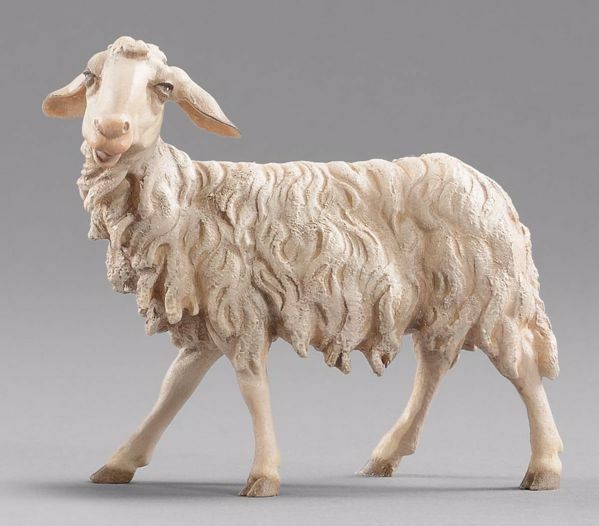 Picture of Sheep looking leftwards cm 20 (7,9 inch) Hannah Alpin dressed Nativity Scene in Val Gardena wood