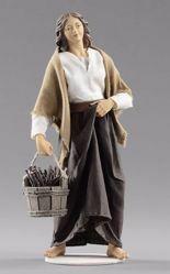 Immagine di Donna con legna cm 20 (7,9 inch) Presepe vestito Hannah Alpin statua in legno Val Gardena abiti in tessuto