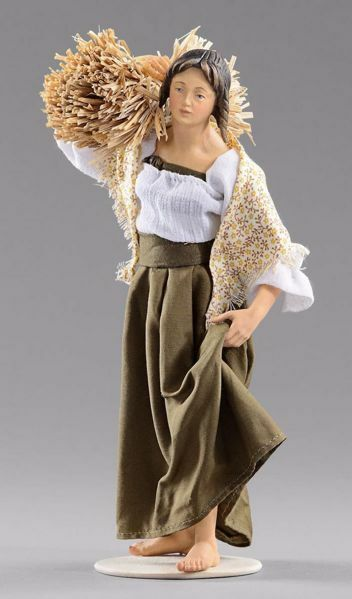 Picture of Woman with straw cm 20 (7,9 inch) Hannah Alpin dressed nativity scene Val Gardena wood statue fabric dresses