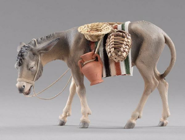 Picture of Donkey with baskets and jug cm 20 (7,9 inch) Hannah Orient dressed Nativity Scene in Val Gardena wood