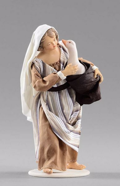 Picture of Girl with goose cm 20 (7,9 inch) Hannah Orient dressed nativity scene Val Gardena wood statue with fabric dresses