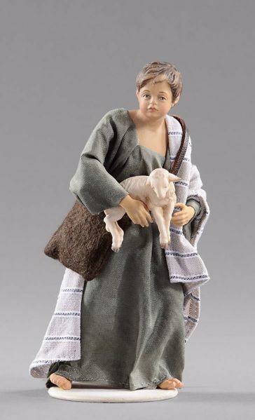 Picture of Child with Lamb cm 20 (7,9 inch) Hannah Orient dressed nativity scene Val Gardena wood statue with fabric dresses