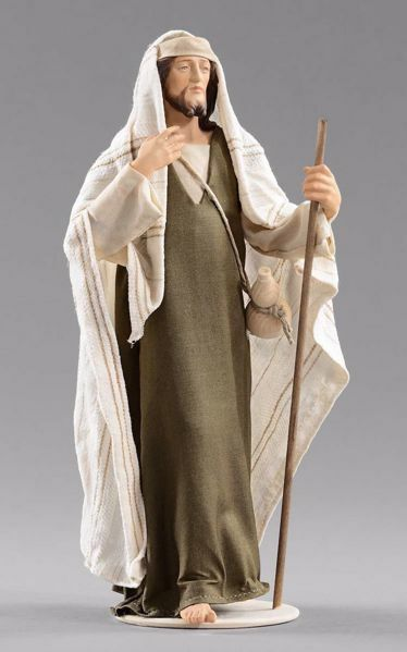 Picture of Shepherd with stick cm 20 (7,9 inch) Hannah Orient dressed nativity scene Val Gardena wood statue with fabric dresses